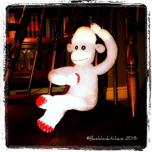 Nov 20 - billy {Mr. Sock Monkey scratches his head & wonders if his first name might be Billy?} #photoaday #mrsockmonkey #fun #play