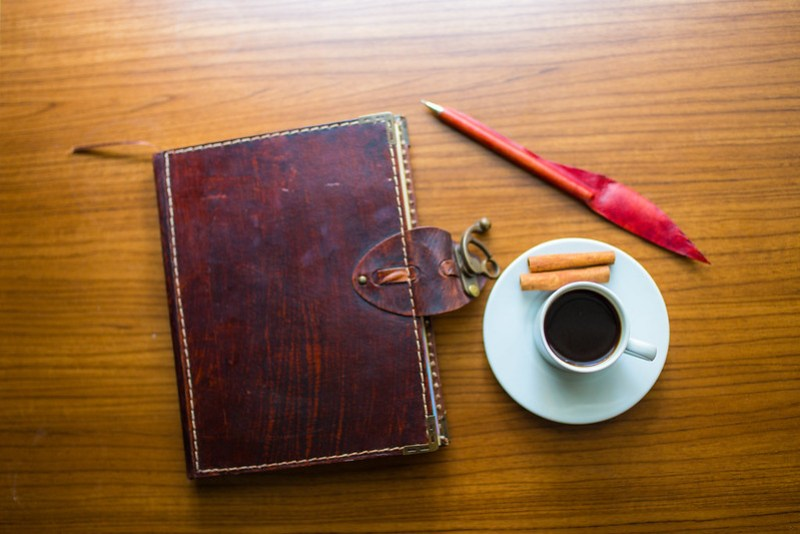 Coffee, Pen, Blog Notebook - Just Add Text  (free CC usage with credit link to LiveOnceLiveWild.com)