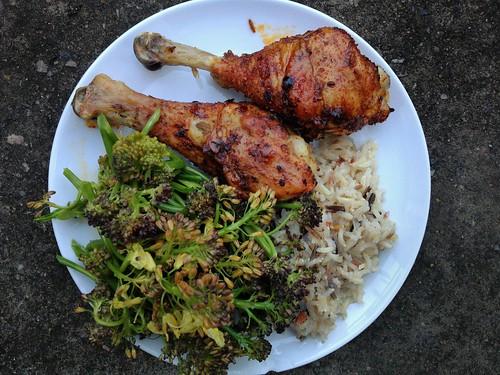 Peri-Peri Chicken + Steamed Purple Sprouting Broccoli + Wild Rice