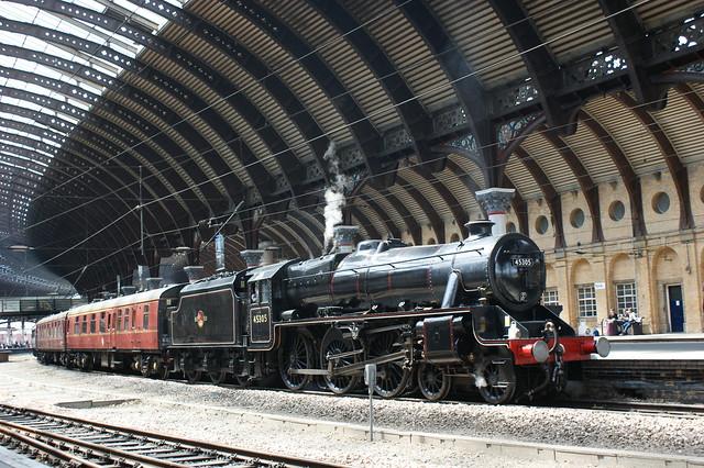 British Railways 45305  arrives into York Platform 5 on the 1Z38 Crewe - Scarborough railtour