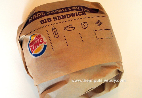 Burger King Rib Sandwich Wrapper