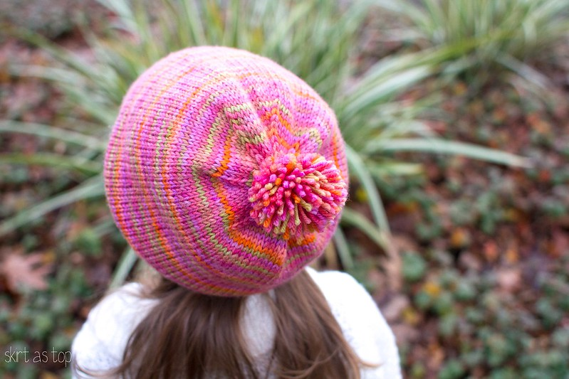 slouchy pink rainbow hat
