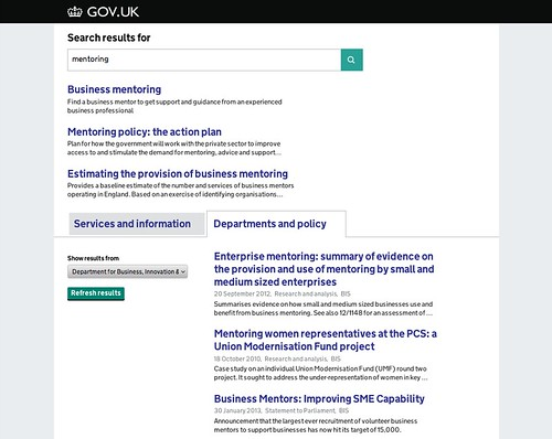 Organisation filtering on GOV.UK site search