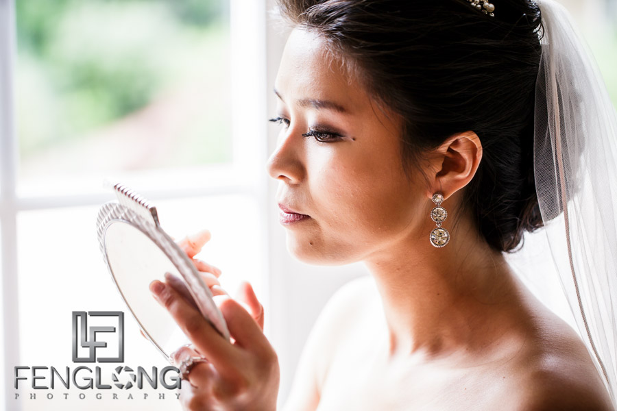 Chinese bride puts on makeup