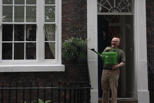 Agradable viejo espontáneo regando sus plantas en Chester