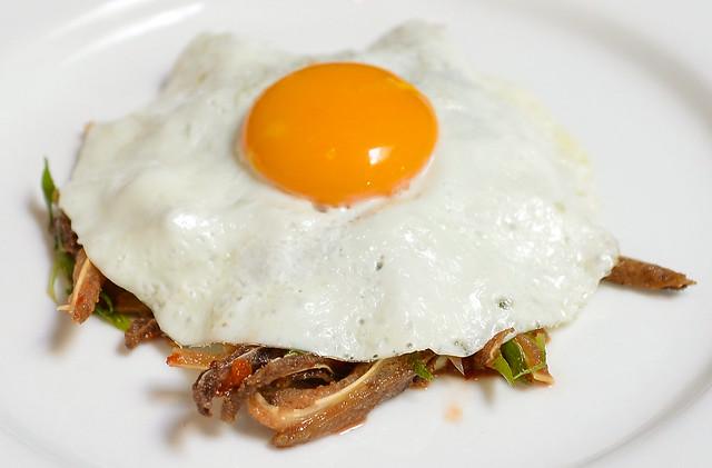 pig ear, chili, lime, fried egg