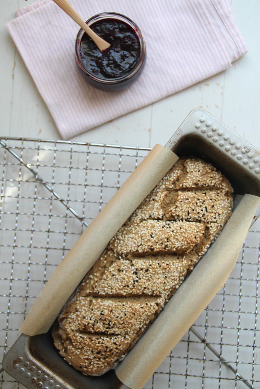 spelt and oat soda bread with maple-vanilla berry compote