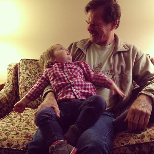 On her grandpa's lap :)