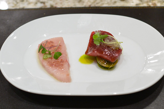 RAW YELLOWTAIL olio di zenzero & pickled red onion & BIG EYE TUNA CRUDO heirloom tomato vinaigrette, melon cucumbers & calabrian chili