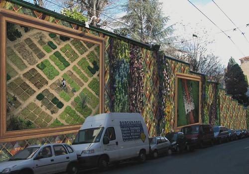 tranh tường kiến trúc xanh