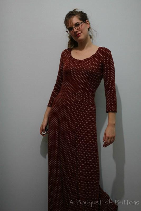 renfrew, long dress, jurk, lange jurk, polka dot, sewaholic