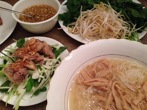 Duck and Bamboo Noodle Soup with cabbage and herb salad