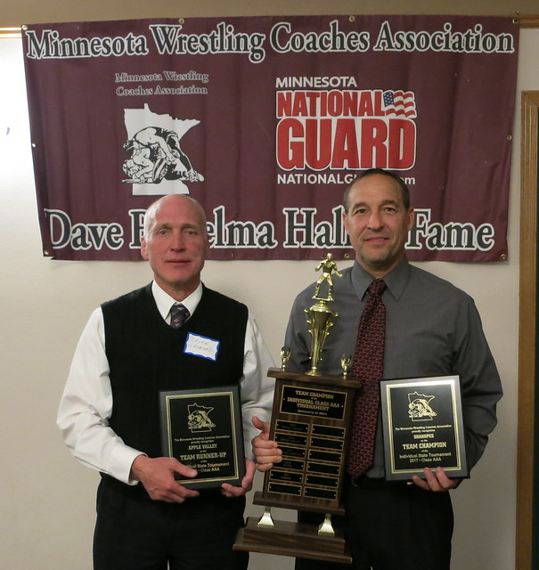 Apple Valley Coach Dalen Wasmund and Shakopee Coach Mark Neu accepted the MWCA Class AAA Individual State Tournament Team Championand Runner-up Awards.