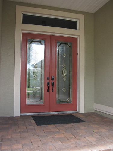 Fresh paint on the front door
