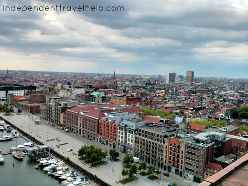View of antwerp from the top of MAS