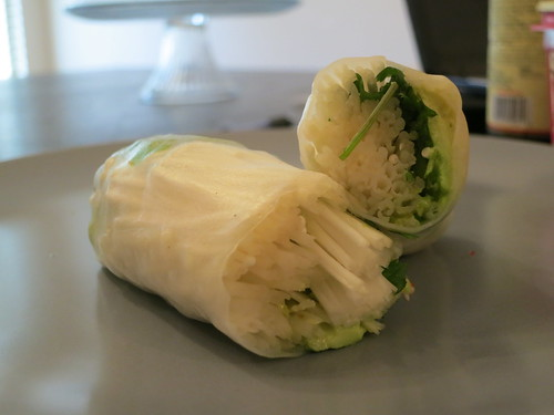 Raw enoki mushroom and avocado salad rolls