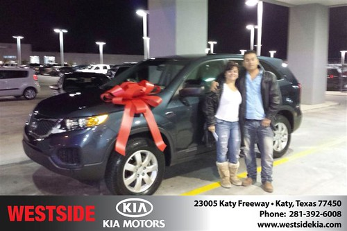 Thank you to MarãA Cristina Duque on your new 2011 #Kia #Sorento from Orlando Baez and everyone at Westside Kia! #NewCarSmell by Westside KIA