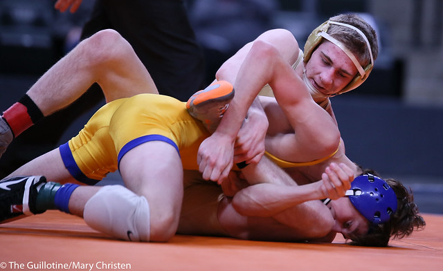 120AA - 1st Place Match - Garrett Vos (Waconia) 38-3 won by decision over Justin Sampson (Waseca) 29-6 (Dec 4-0)