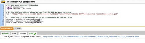 Scraperwiki page loaded in