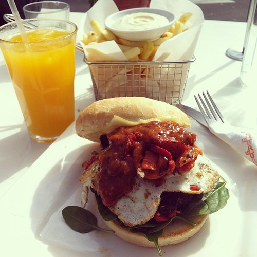 Argus burger + fries + fresh OJ = Yum. Meeting was great too.