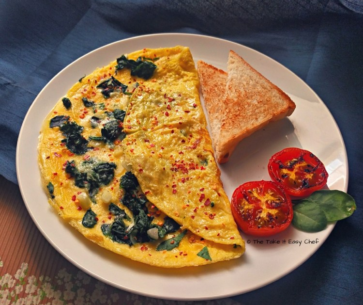 Spinach Omelette with Parmesan Cheese