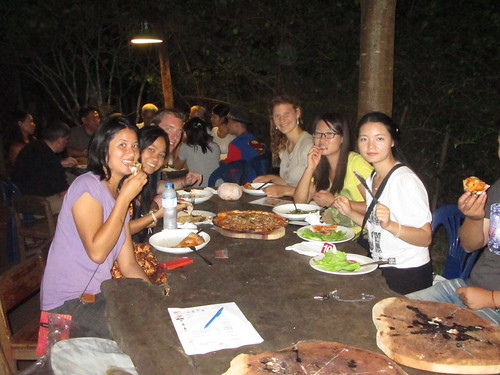 At Secret Pizza in Laos