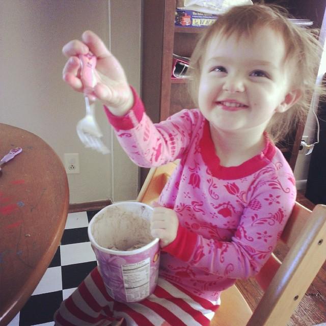 Ice cream for breakfast? Ok, fine. #thirdchildparenting