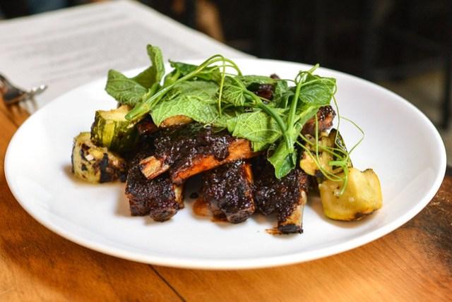 balsamic pork ribs, grilled heirloom squash, yuzu, green chili