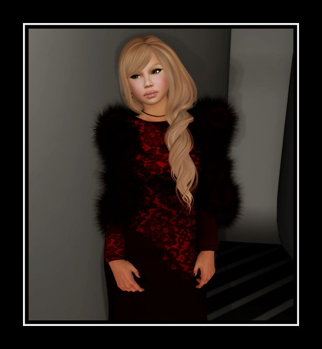 FireBird Designs - Lace Gown with Red Stole by Tigist Sapphire