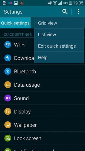 เลือกรูปแบบการแสดงผลของ Settings ของ Samsung Galaxy S5