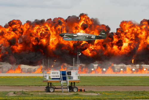 P40 on Fire by Mike Miley