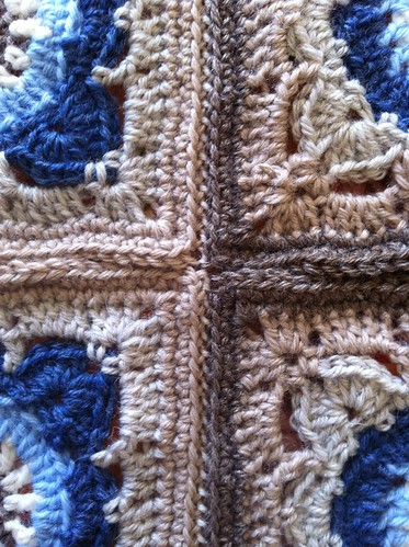 Chocolate macarons - baby blanket wip