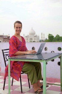 Diana working in front of the Taj Mahal, 2014