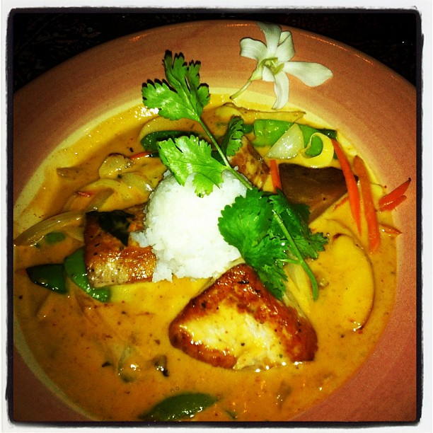 Mama's Fish House. Ono in a panang curry with coconut milk. Wowie. So good. #foodie #latergram #curry #maui