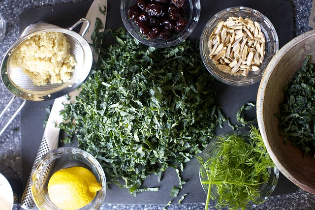 quinoa, cherries, almonds, kale, dill, lemon