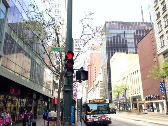 New diagonal crossing signals at State/Jackson