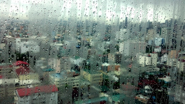 Rainy window in Manila, Philippines.