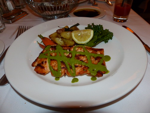 grilled salmon with lemon thyme sauce, rosemary potato wedges and broccolini