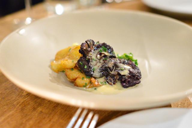 potatoes a la flammande, salt cod alfredo, green garlic (rustic canyon)