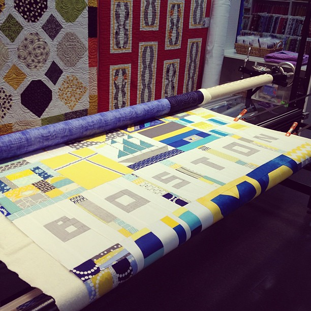 On the long arm at quilters way! #quiltsforboston