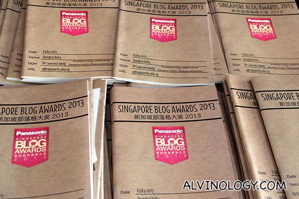 Program booklets for Singapore Blog Awards 2013