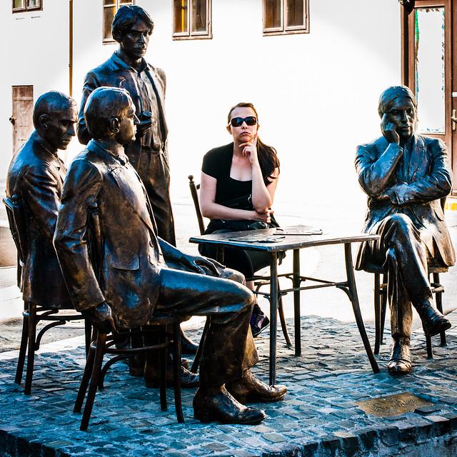 Oradea, Romania, Strada Republicii statues