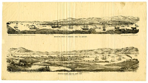 Benicia and Straits of Carquinez from the sout [sic] east. [upper] Benicia & harbor from the north west. [lower]