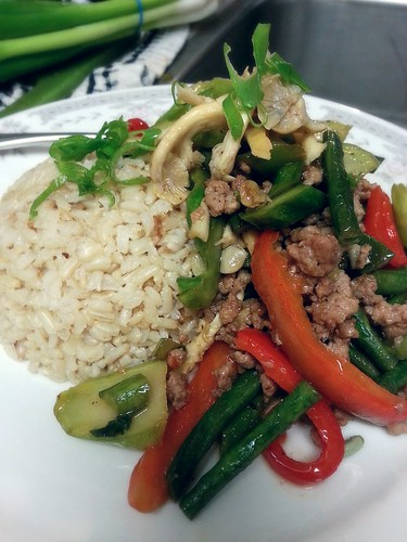 4-veggie and pork stir fry over brown rice by pipsyq
