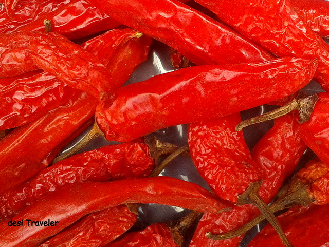 bright red chilies in sun