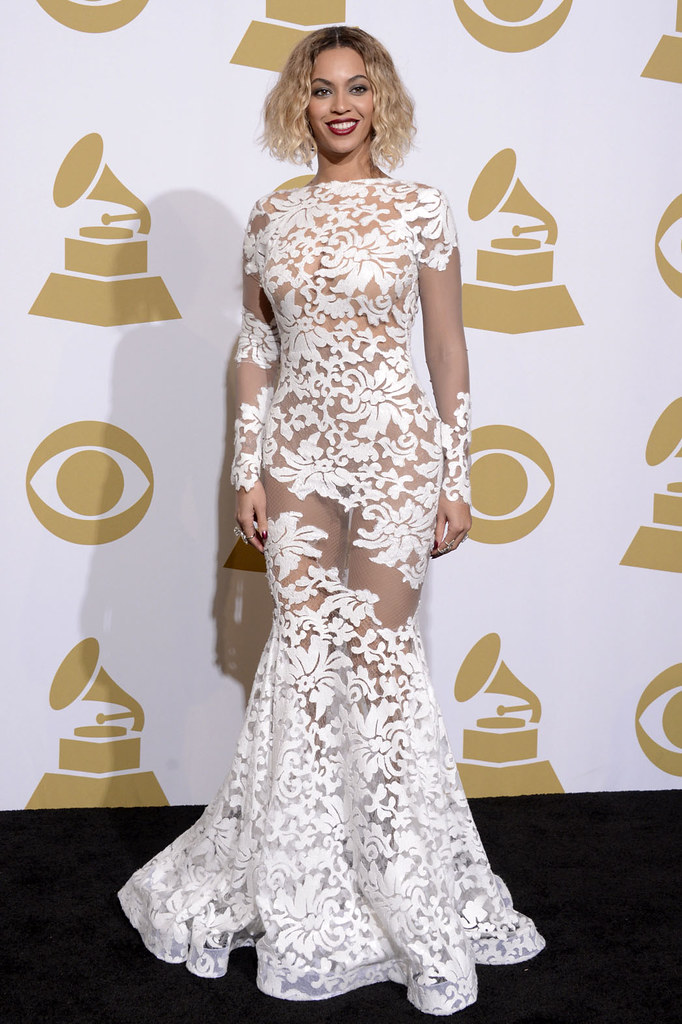 Beyonce's white lace Grammy Awards gown by michael costello