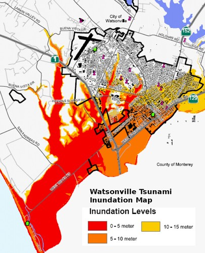 Watsonville tsunami inundation map