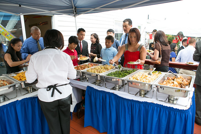 Buffet food line at the reception. Katarina Price Photography.