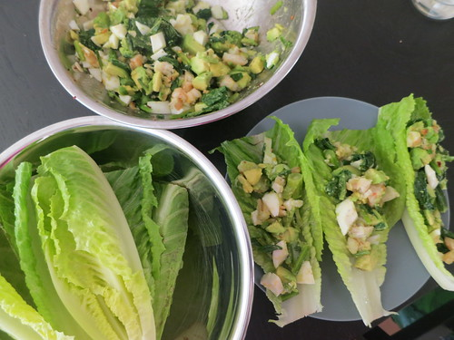 Avocado, shrimp and egg lettuce wraps