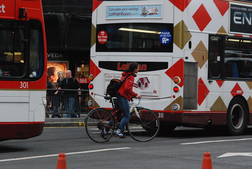 Buses and tram tracks, not cycle friendly